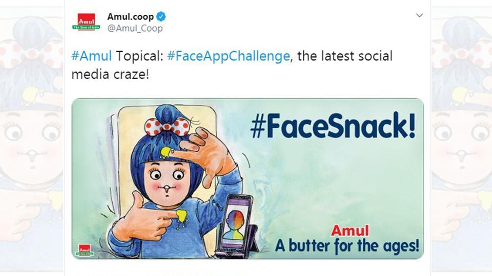Amul shared a post featuring the new #FaceAppChallenge.