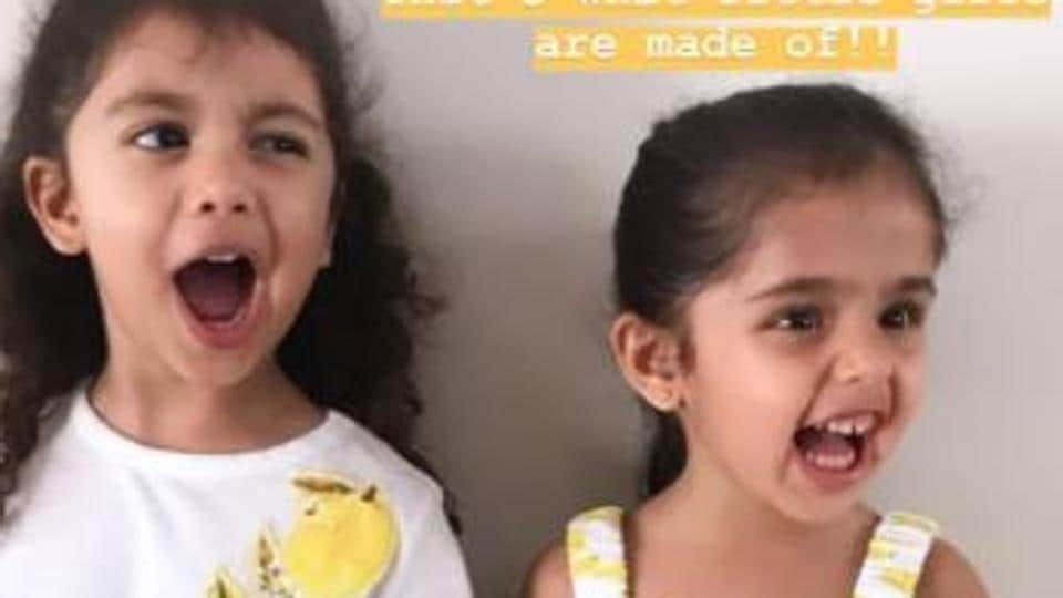 Misha Kapoor poses as her mom clicks the picture.