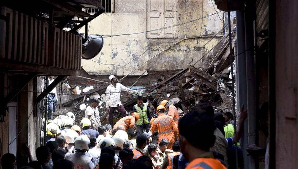 Mumbai, India - July 17, 2019:Rescuers work at the site of a building that collapsed at Dongri in Mumbai, India, on Wednesday, July 17, 2019. (Photo by Kunal Patil/ Hindustan Times)