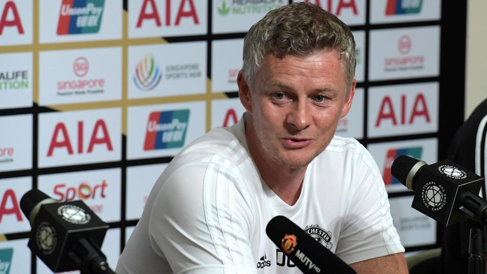 Manchester United's manager Ole Gunnar Solskjaer attends a press conference.