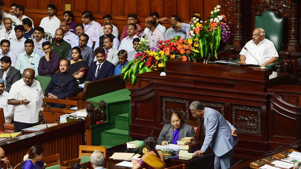 Karnataka Assembly Floor Test: Karnataka Chief Minister H D Kumaraswamy speaks during the assembly session at Vidhana Soudha in Bengaluru, Friday, July 19, 2019.