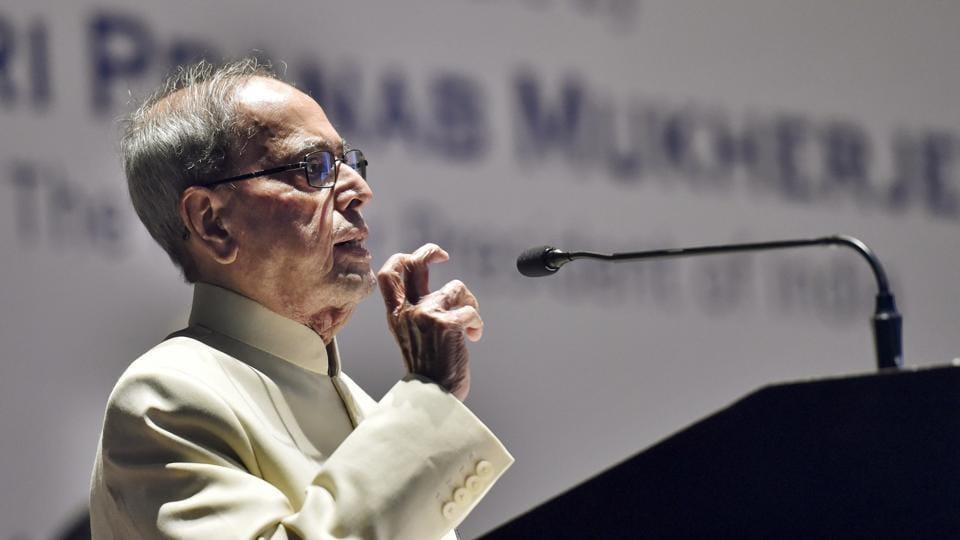 New Delhi: Former President Pranab Mukherjee speaks on the topic of 'Furthering India's Promise' during an event at Mavalankar Hall, in New Delhi, Thursday, July 18, 2019. (PTI Photo/Ravi Choudhary)(PTI7_18_2019_000226B)