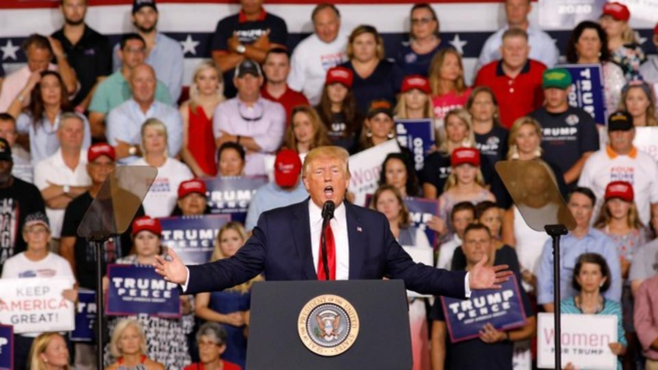 U.S. President Donald Trump speaks about U.S. Representative Ilhan Omar, and the crowd responded with