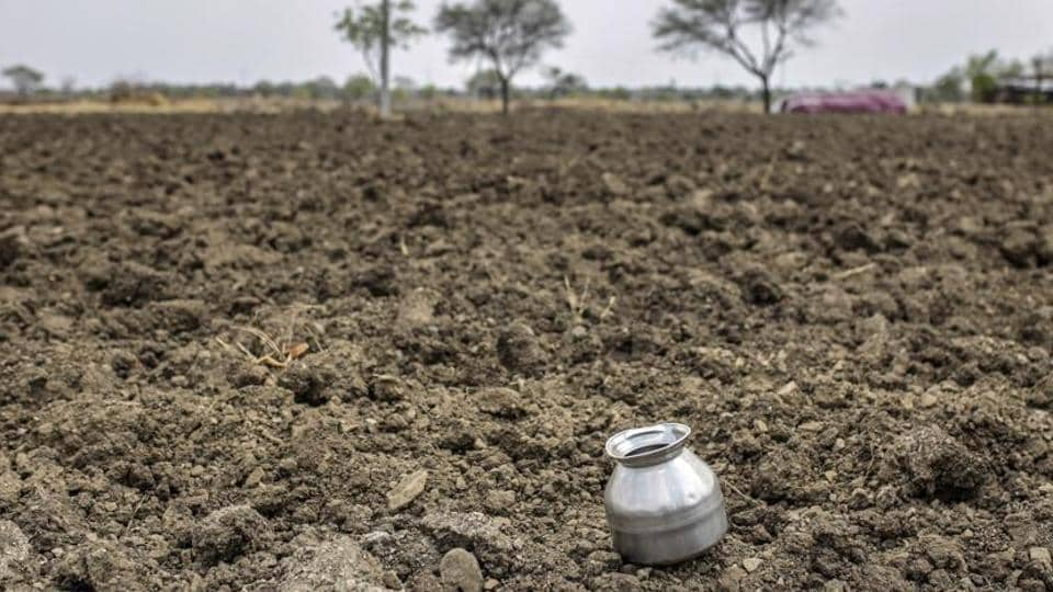 A water vessel sits on farmland near the village of Khardewadi in this aerial photograph taken in Beed district, Maharashtra. A three-year drought has left some farmers with no income to pay back loans, with tragic consequences: Beedreportedlyhas the state's highest rate of farmer suicides.
