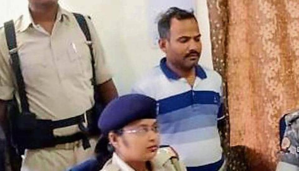 Panna Lal Mahto after his arrest in Khunti onFriday.