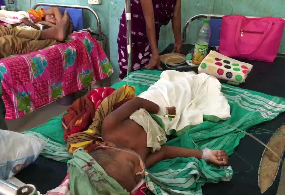 Children admitted in hospital as they suffering from Japanese Encephalitis (JE), in Dibrugarh.
