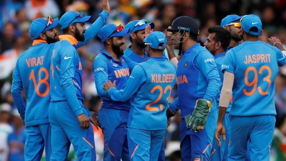 File image of players of India cricket team celebrating after the fall of a wicket.