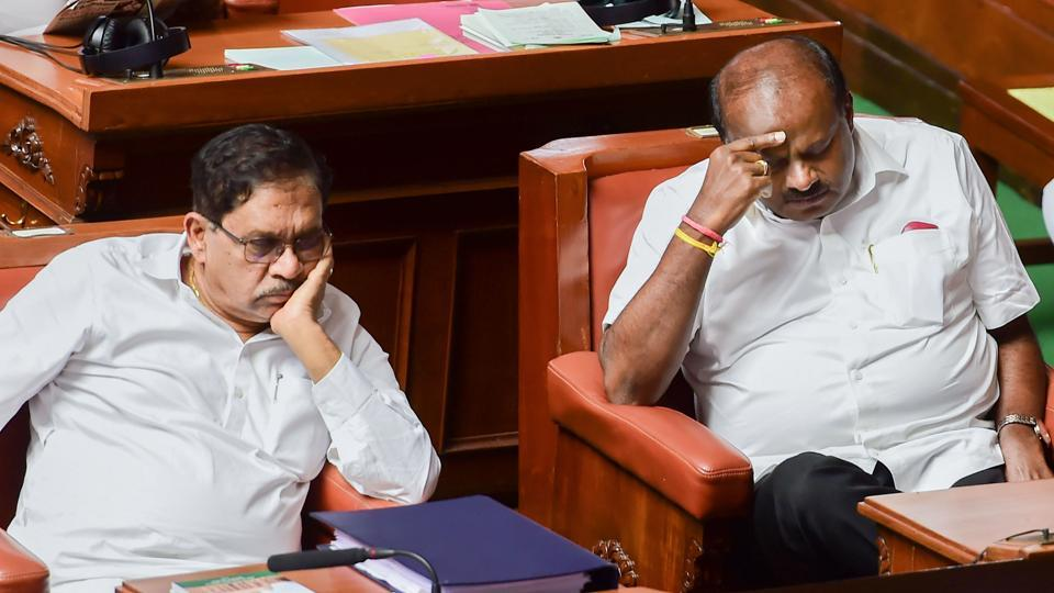 Karnataka Chief Minister HD Kumaraswamy with his deputy G Parameshwara during Assembly Session at Vidhana Soudha, in Bengaluru. Kumaraswamy on Friday missed a third deadline set by the governor to prove he still has a majority in the assembly, questioning the latter's right to dictate legislative proceedings as the House was adjourned until Monday and the vote of confidence delayed. (Shailendra Bhojak / PTI)