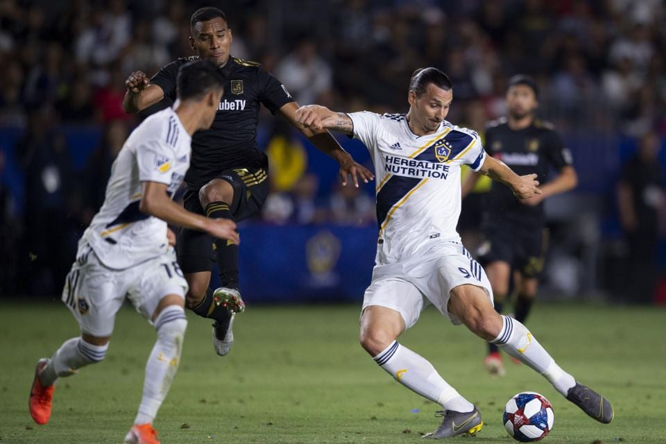 Jul 19, 2019; Carson, CA, USA; LA Galaxy forward Zlatan Ibrahimovic (9) attempts a shot for a goal during the second half against the Los Angeles FC at Dignity Health Sports Park. Mandatory Credit: Kelvin Kuo-USA TODAY Sports