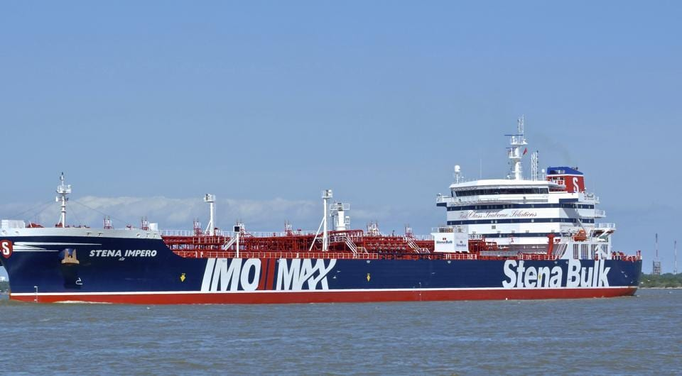 In this May 5, 2019 photo issued by Karatzas Images, showing the British oil tanker Stena Impero at unknown location, which is believed to have been captured by Iran.