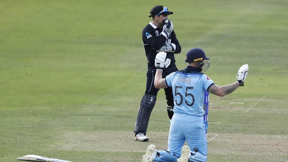 Ben Stokes holds up his hands apologetically after getting 6 runs from an overthrow during the Cricket World Cup final match between England and New Zealand.