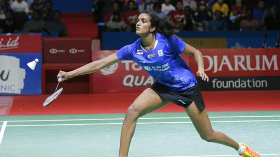 P.V. Sindhu  competes against Akane Yamaguchi of Japan during their women's singles final match at Indonesia Open in Jakarta.