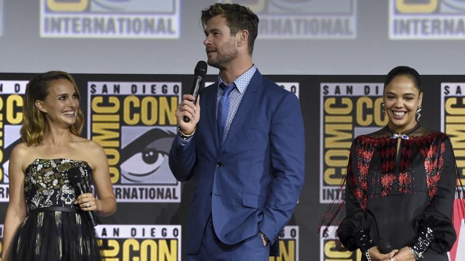 Natalie Portman, from left, Chris Hemsworth and Tessa Thompson participate during the Thor Love And Thunder portion of the Marvel Studios panel on day three of Comic-Con International on Saturday, July 20, 2019, in San Diego.