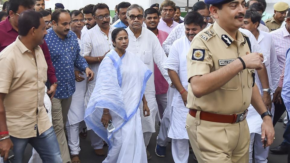 West Bengal Chief Minister and TMC supremo Mamata Banerjee visits the venue where the preparation going on for commemoration on the eve of Martyr's day in Kolkata on Saturday.