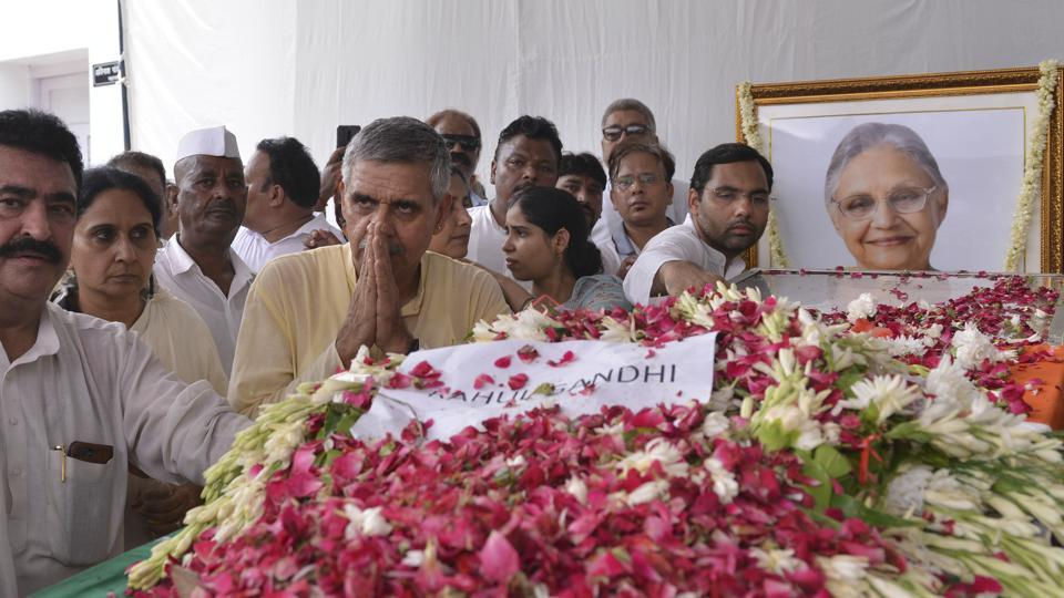 Dikshit's body was also taken to the Delhi Pradesh Congress Committee's office for the last time, the place that was central to her politics since 1998.