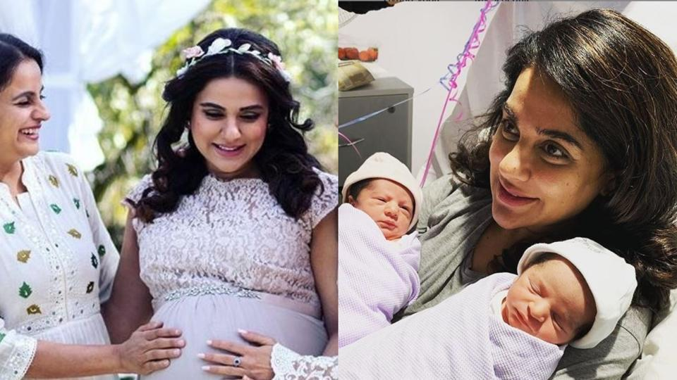 Sara Arfeen Khan at her baby shower and with her twins.