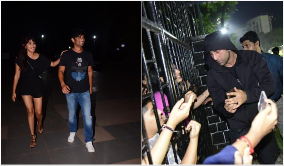 Sushant Singh Rajput seen at dinner with Rhea Chakraborty, Ranbir Kapoor clicks selfies with fans. See pics