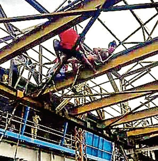 A mentally-challenged man climbed onto a partially dismantled foot overbridge (FoB) at Malad railway station.