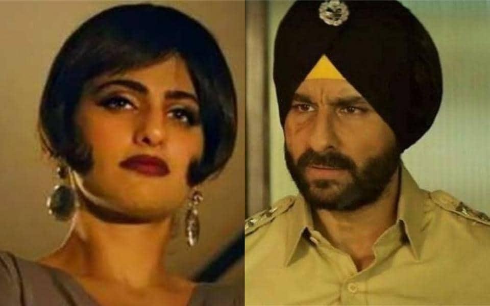 Kubbra's Sait as Kuckoo and Saif Ali Khan as Inspector Sartaj Singh in Sacred Games 1.
