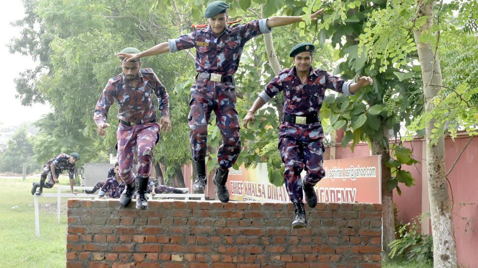 NCC cadets during their training camp at Sri Guru Harkrishan International School in Amritsar on Sunday. July 21, 2019. (Photo by Sameer Sehgal/Hindustan Times)