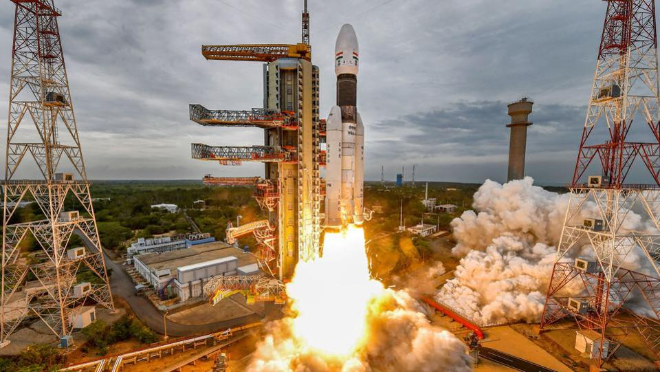 India's second moon mission Chandrayaan-2 lifts off onboard GSLV Mk III-M1 launch vehicle from Satish Dhawan Space Center at Sriharikota. Andhra Pradesh. It will be a long, over one-and-a-half-month journey for Chandrayaan-2 as it traverses the 384,400 km journey to the Moon. It will also make India the fourth country to soft land a rover on the lunar surface after Russia, the US and China. (ISRO / PTI)