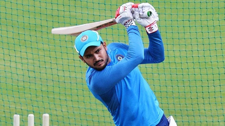 Indian cricketer Manish Pandey bats during a practice session