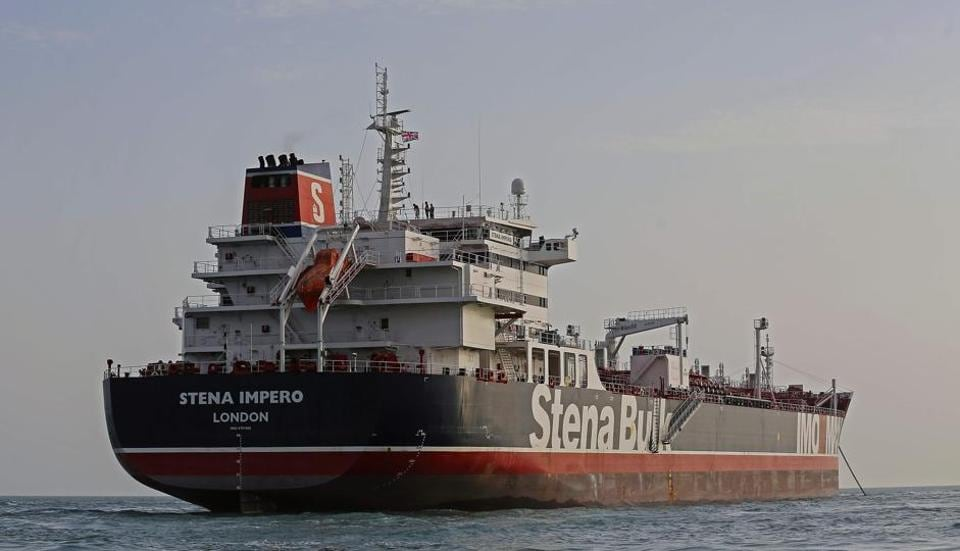 A picture taken on July 21, 2019, shows the British-flagged tanker Stena Impero anchored off the Iranian port city of Bandar Abbas. - Iran warned Sunday that the fate of a UK-flagged tanker it seized in the Gulf depends on an investigation, as Britain said it was considering options in response to the standoff.