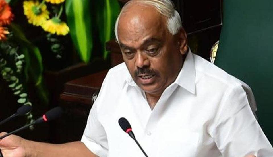 Bengaluru: Karnataka Assembly Speaker KRRamesh Kumar speaks during an Assembly session at Vidhana Soudha, in Bengaluru, Friday, July 19, 2019. (PTI Photo/Shailendra Bhojak)(PTI7_19_2019_000094B)