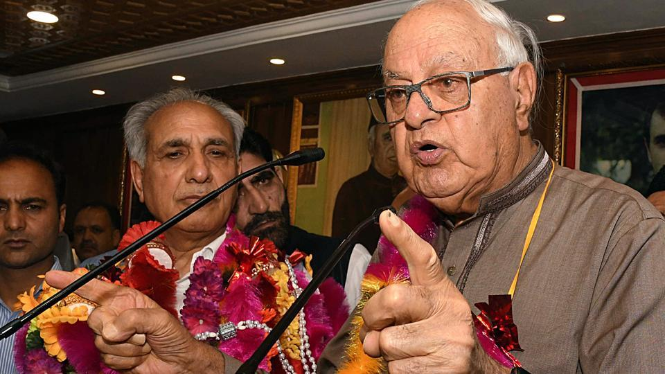 Jammu and Kashmir National Conference party President and Member of Parliament Dr Farooq Abdullah addressing party workers after former lawmaker and leader of People Democratic Party (PDP) Mohammad Khalil Bandh joined NCr in Srinagar on Sunday, July 21, 2019.