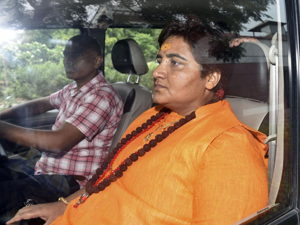 "BJP working president J P Nadda Monday ""pulled up"" Bhopal MP Pragya Singh Thakur for her remarks that she was not elected to the Lok Sabha for cleaning up toilets, comments. She was summoned to the BJP headquarters, where Nadda conveyed to her the party leadership's displeasure with her comments made at Sehore in Madhya Pradesh on Sunday, party sources said. (Manvender Vashist / PTI)"