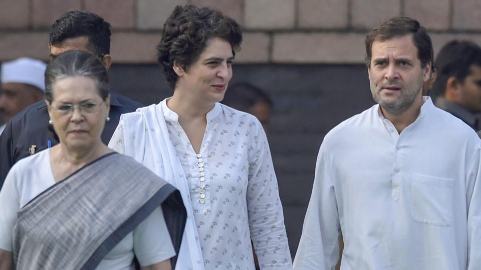 Sonia Gandhi,  Rahul Gandhi and Priyanka Gandhi Vadra