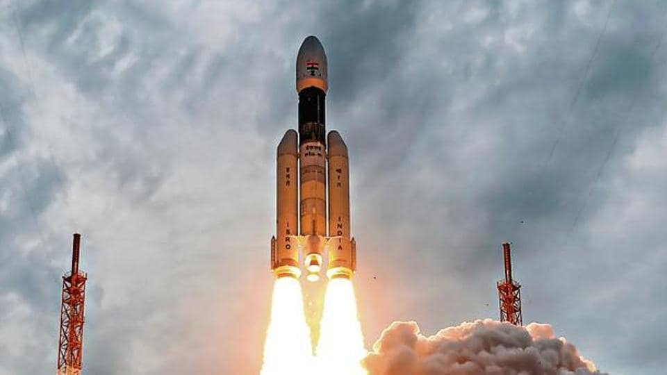 At 2.43pm, the 14-storey-tall GSLV Mark III rocket blasted off from the Satish Dhawan Space Centre in Andhra Pradesh's Sriharikota with the 3,850kg Chandrayaan-2 spacecraft, exactly a week after the launch was called off due to a technical snag. (PTI Photo)
