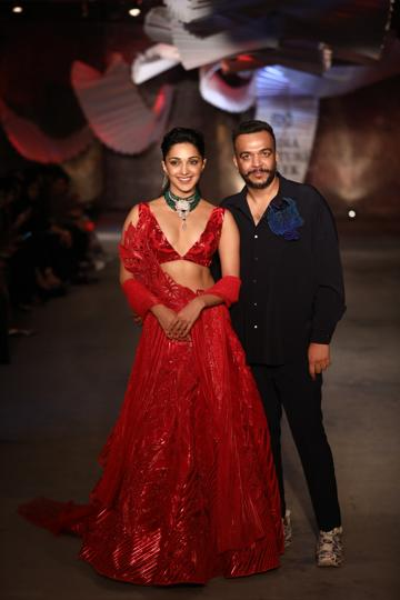 Kiara Advani walked the runway for designer Amit Aggarwal on Day One of India Couture Week.