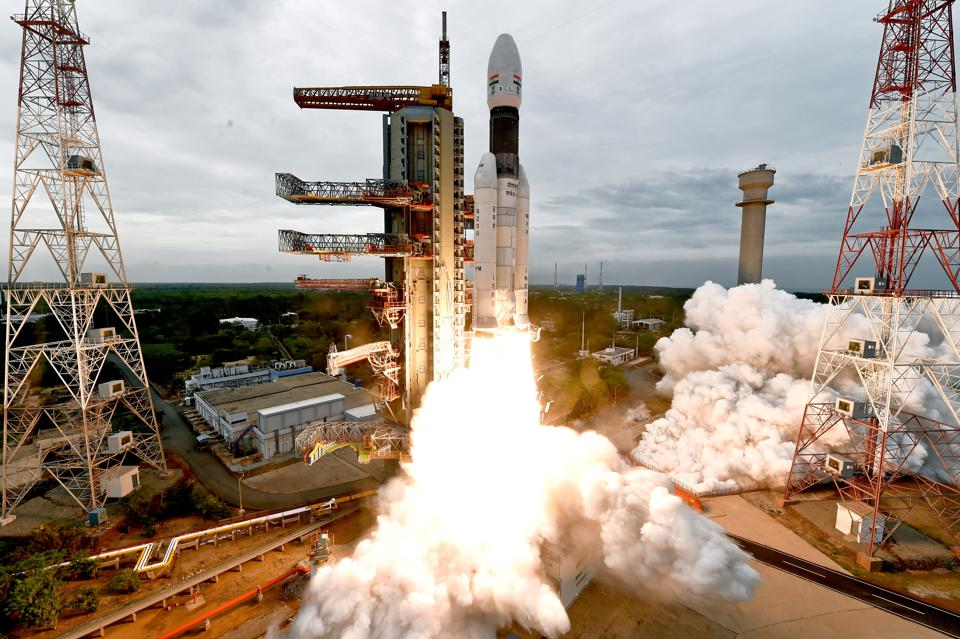 India's Geosynchronous Satellite Launch Vehicle Mk III-M1 blasts off carrying Chandrayaan-2 from the Satish Dhawan space centre at Sriharikota, India, July 22, 2019.