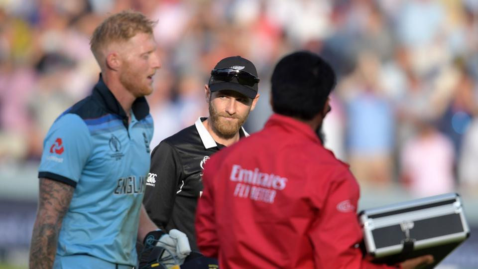 New Zealand's captain Kane Williamson and England's Ben Stokes ahead of a 'super over' during the 2019 Cricket World Cup final.