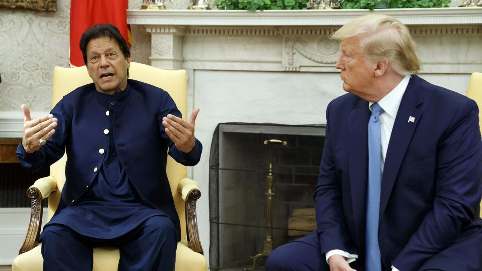 Pakistan Prime Minister Imran Khan speaks during a meeting with President Donald Trump in the Oval Office of the White House, Monday, July 22, 2019, in Washington.