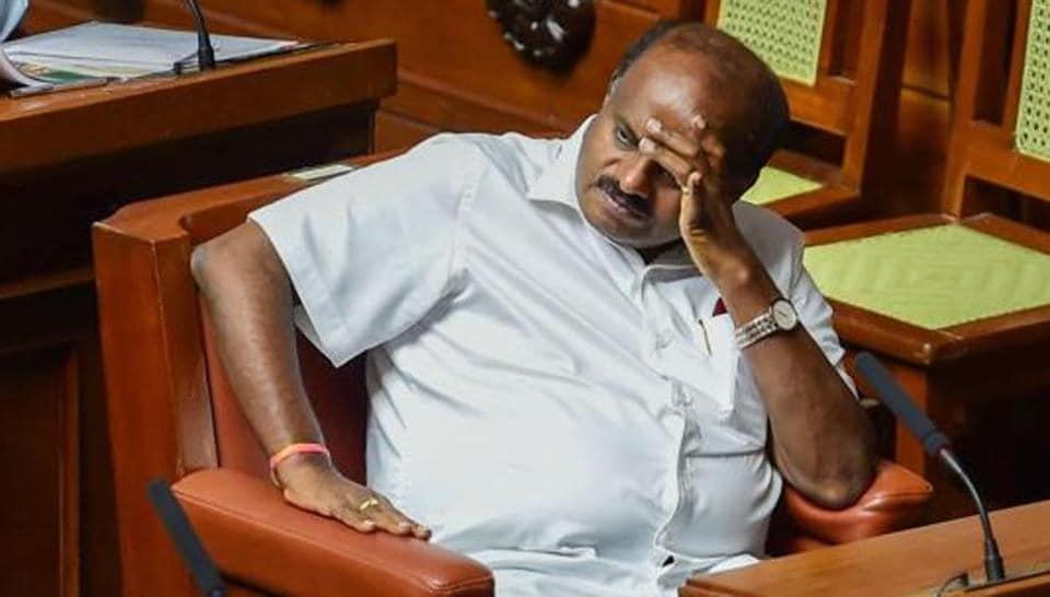 Bengaluru: Karnataka Chief Minister H D Kumaraswamy during the trust vote at Vidhana Soudha, in Bengaluru.