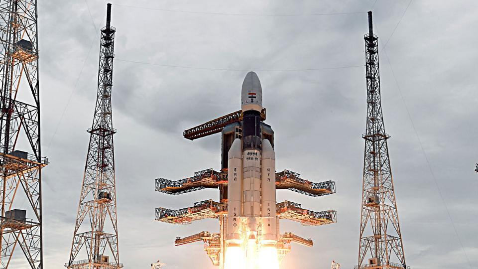 The Geosynchronous Satellite Launch Vehicle, GSLV MkIII-M1 rocket, carrying Chandrayaan-2 spacecraft, lifting off from the Second Launch Pad at the Satish Dhawan Space Centre in Sriharikota.