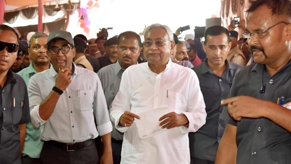 Bihar chief minister Nitish Kumar was joined by RJD MLA Abdul Bari Siddiqui during his visit to flood-affected Darbhanga recently.