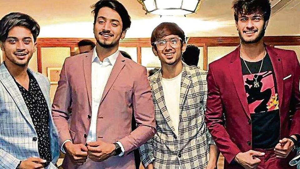 (From left) Hasnain Khan, Faisal Shaikh, Adnan Shaikh, Shadan Farooqui , Faiz Baloch, members of a group  known as Team 07 on TikTok. They have a combined following of over 40 million.