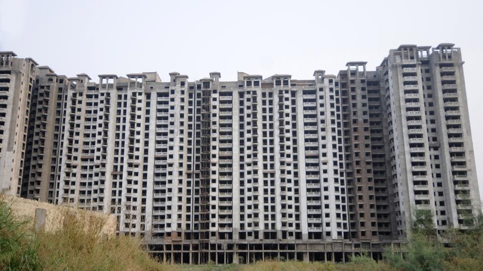 High-rises of an Amrapali Group project at sector 76, in Noida.