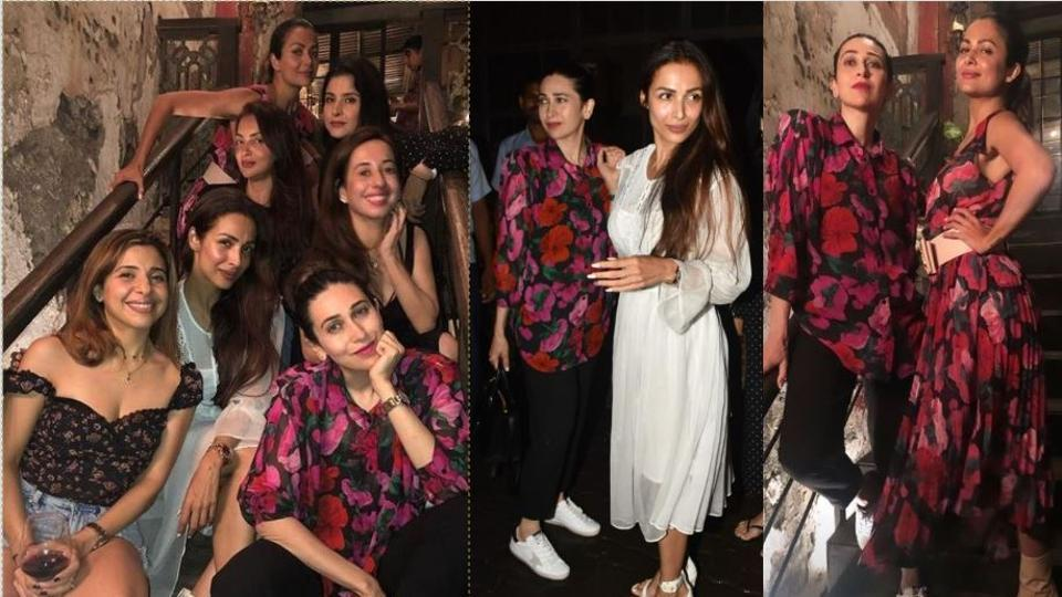 Malaika Arora and Karisma Kapoor got together for a party with their friends in Mumbai on Wednesday.