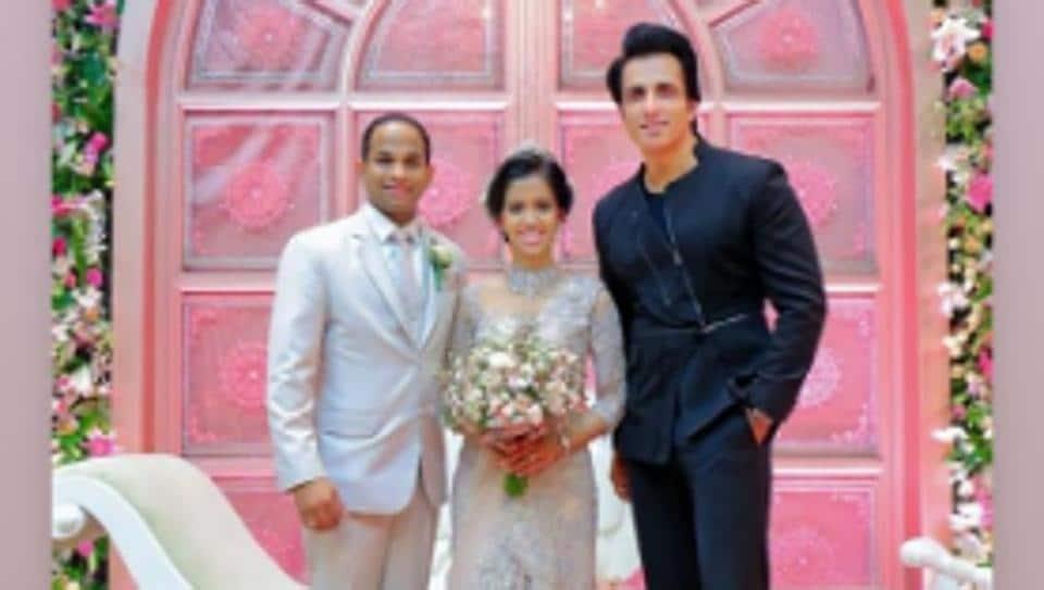 Sonu Sood at the wedding of a fan inSri Lanka.
