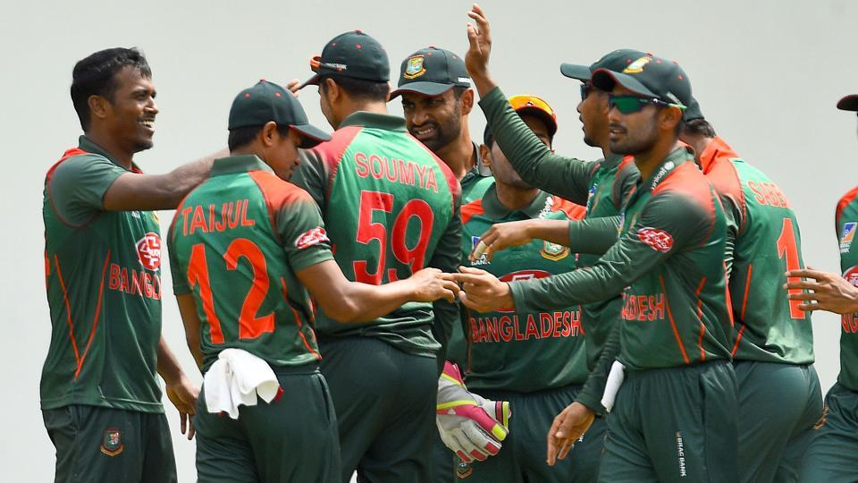 File image of players of Bangladesh cricket team celebrating after the fall of a wicket.