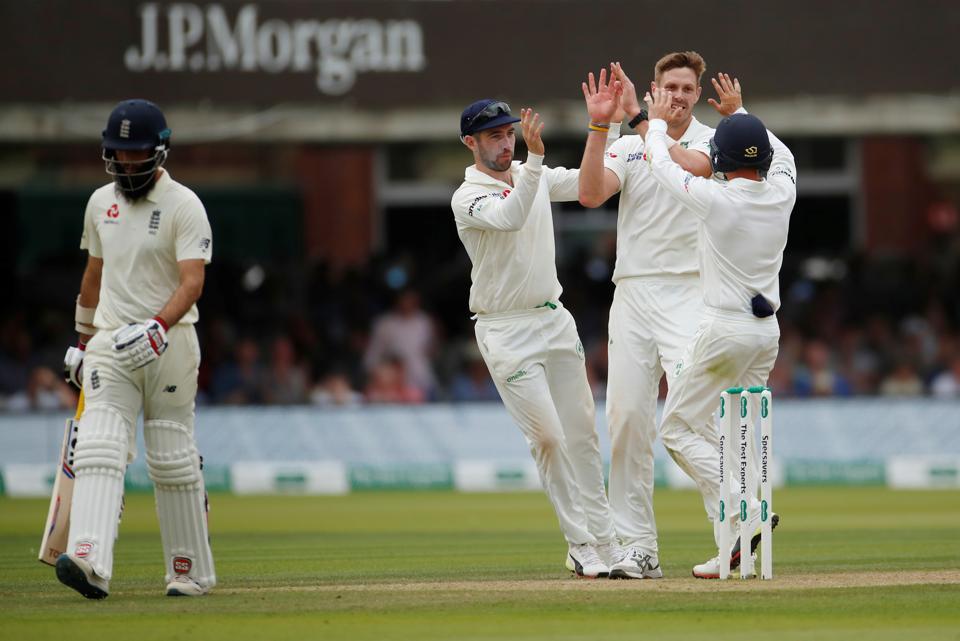 Ireland's Boyd Rankin celebrates taking the wicket of England's Moeen Ali.