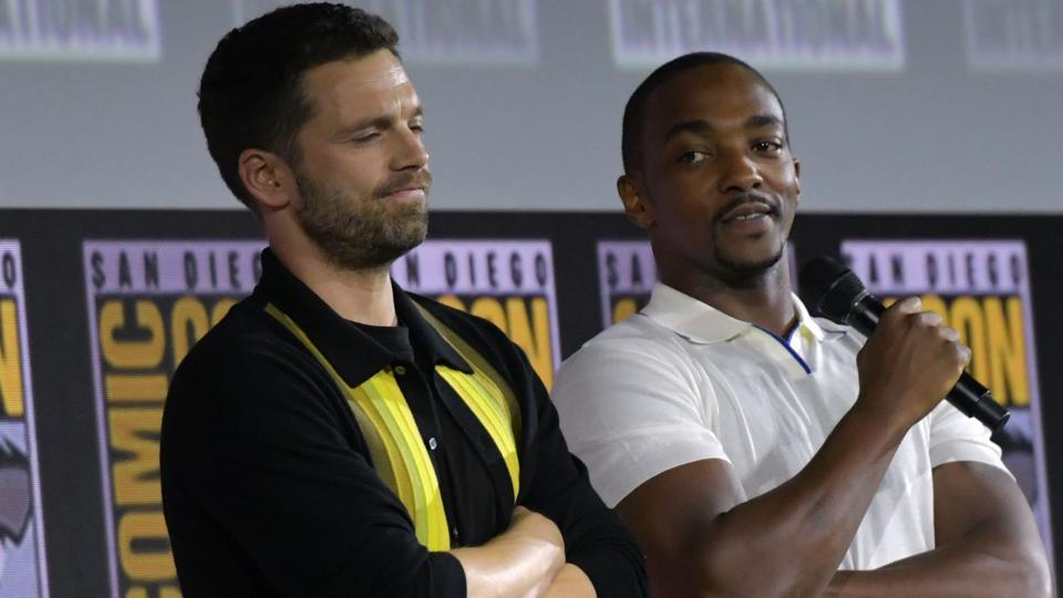 Sebastian Stan (L) and US actor Anthony Mackie were asked to weigh in on Avengers Endgame vs Game of Thrones finale.