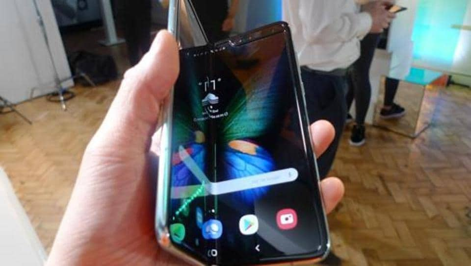 The Samsung Galaxy Fold smartphone is seen during a media preview event in London, Tuesday April 16, 2019. Samsung is hoping the innovation of smartphones with folding screens reinvigorates the market.