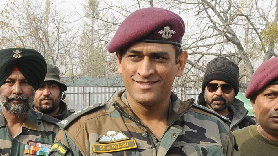 File photo of MS Dhoni during a visit to an army camp. (Photo by Waseem Andrabi / Hindustan Times)
