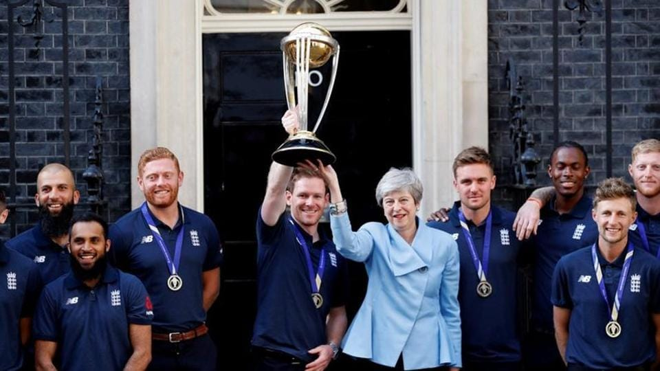 The England cricket team with Prime Minister Theresa May, July 15, 2019, London.