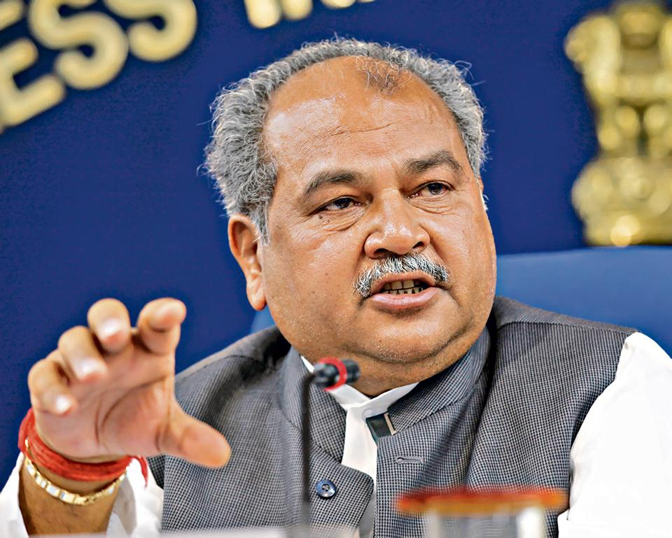 New Delhi, India - April 2, 2015: Union Minister of Steel and Mines Narendra Singh Tomar during a Press Conference at Shastri Bhawan, in New Delhi, India, on Thursday, April 2, 2015. (Photo by Arvind Yadav/ Hindustan Times)